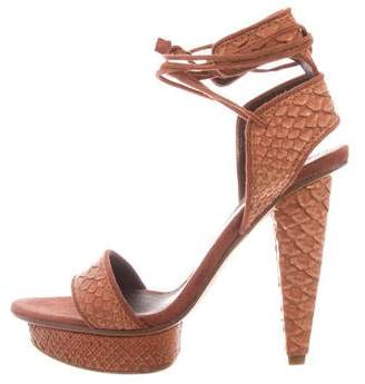 Calvin Klein Collection Snakeskin Platform Sandals