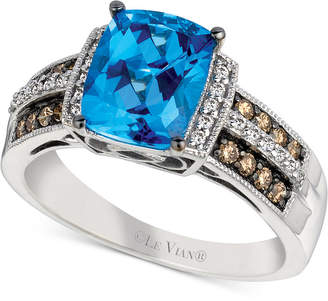 LeVian Le Vian Chocolatier Signity Blue Topaz (2 ct. t.w.) and Diamond (1/4 ct. t.w.) Ring in 14k White Gold
