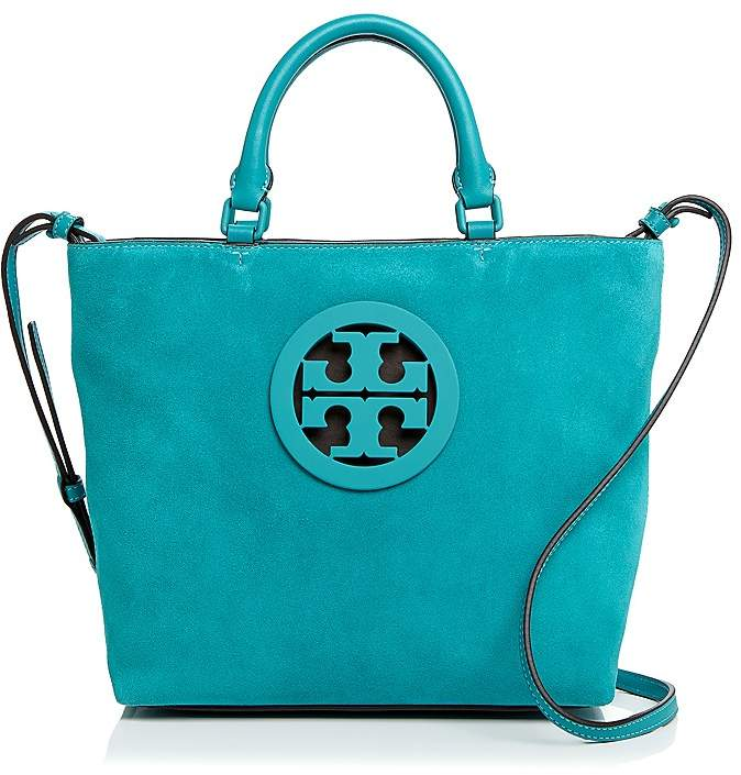 Tory Burch Charlie Small Suede Tote - RIBBON TURQUOISE/GOLD - STYLE