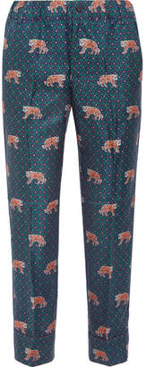 J.Crew - Easy Printed Silk-twill Straight-leg Pants - Blue $110 thestylecure.com