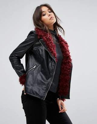 Missguided Black Faux Fur Detail Faux Leather Jacket