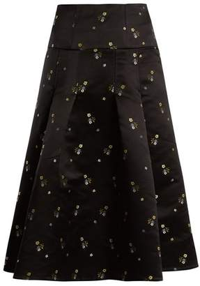 Erdem Gael Duchess Satin A Line Skirt - Womens - Black Multi