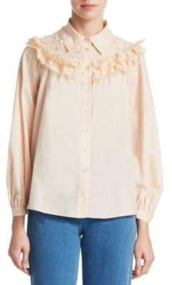 See by Chloe Lace Neck Blouse
