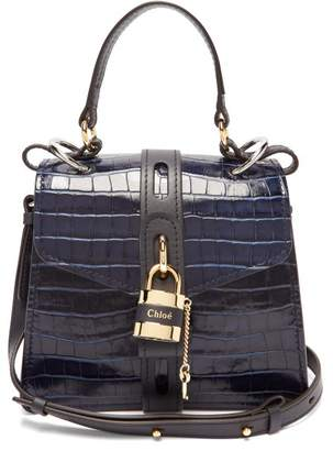 Chloé Aby Small Crocodile Effect Leather Shoulder Bag - Womens - Navy