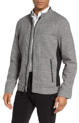 Vince Camuto Glen Plaid Linen Blend Bomber Jacket