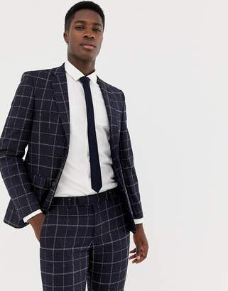 Moss Bros skinny suit jacket with windowpane check in navy