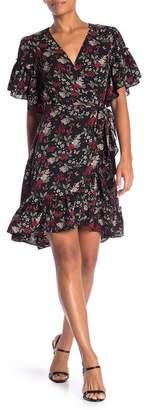 Max Studio Printed Wrap Ruffle Dress