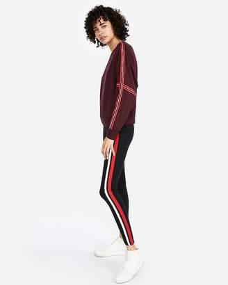 Express One Eleven Crew Neck Varsity Stripe Sweatshirt