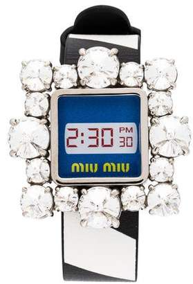 Miu Miu Crystal & Leather Faux Watch Wrap