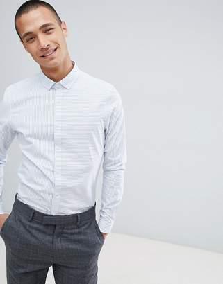 80aa743175e Asos Design DESIGN smart stretch slim stripe shirt with contrast detail