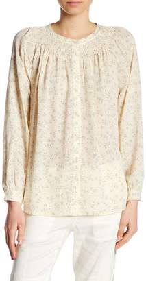 Vince Floral Long Sleeve Silk Blouse