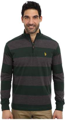 U.S. Polo Assn. Striped Rib Mock Neck 1/4 Zip Pullover Men's Long Sleeve Pullover