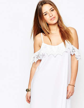 Asos Cold Shoulder Dress with Lace Trim