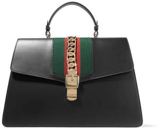 Gucci Sylvie Large Chain-embellished Leather Tote - Black
