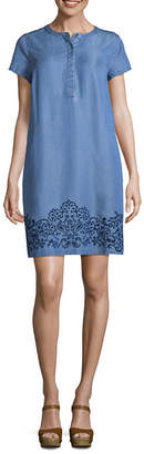 Liz Claiborne Short Sleeve Embroidered Chambray Shift Dress