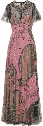 Valentino Embellished Silk-chiffon And Tulle Gown - Pink