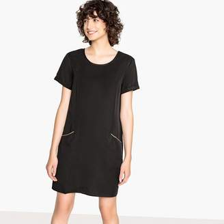 Vila Straight Round Neck Dress with Short-Sleeves and V-Back