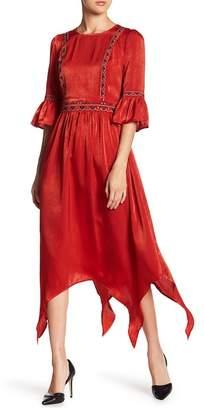Moon River Satin Embroidered Asymmetrical Midi Dress