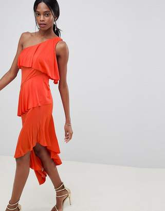 Asos DESIGN one shoulder drapey tiered midi dress