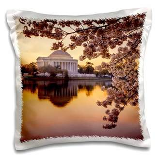 3dRose Cherry blossoms and the Jefferson Memorial at dawn, Washington DC, USA, Pillow Case, 16 by 16-inch