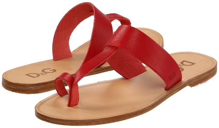 D&G Thong Slipper - LDDZC5 (Little Kid/Big Kid) (Red) - Footwear