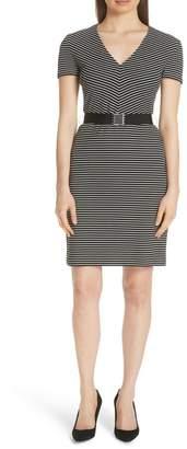 BOSS Hedra Stripe Belted Knit Dress