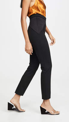 Cushnie High Waisted Fitted Cropped Pants with Satin Triangles