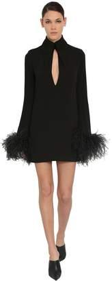 16Arlington Stretch Cady Mini Dress W/feathers