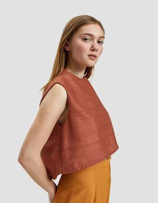 Kaarem Wind Chime Silk Raised Collar Top in Terra Cotta