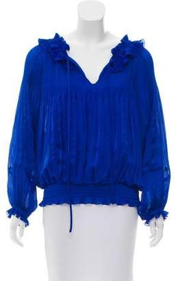Diane von Furstenberg Ruffled Long Sleeve Top