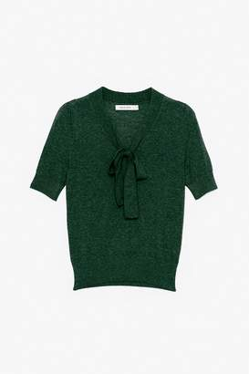 Genuine People Short-Sleeve Wool Sweater with Bow Tie