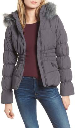 Maralyn & Me Faux Fur Trim & Fleece Lined Puffer Jacket