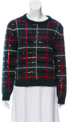 Saint Laurent Plaid Sequin Sweater