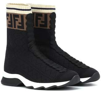 Fendi High-top stretch knit sneakers