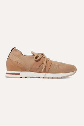 Loro Piana Flexy Lady Cashmere, Suede And Leather Sneakers - Camel