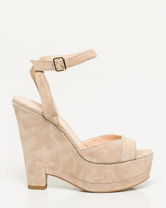 Le Château Italian-Made Suede Ankle Strap Wedge