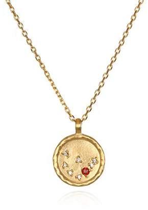 Satya Jewelry Aquarius Constellation Amethyst White Topaz Zodiac Necklace (18-inch)