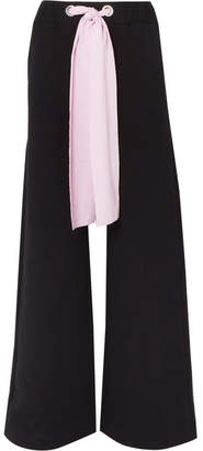 MSGM Poplin-trimmed Cotton-jersey Wide-leg Pants - Black