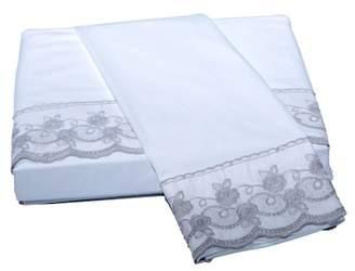 Belle Epoque White/Silver Capri Lace Floral Queen Sheet Set