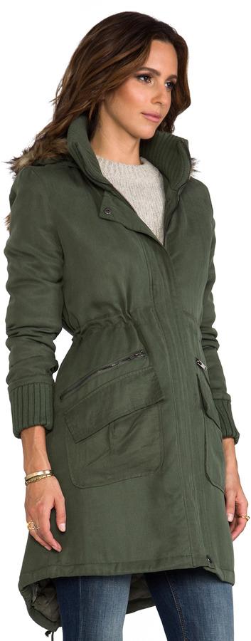 BB Dakota Abby Tencel Long Coat w/ Faux Fur Trim