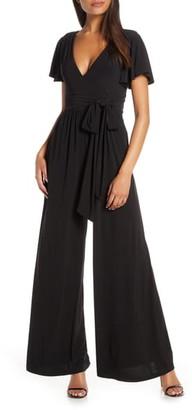 Eliza J Flutter Sleeve Wide Leg Jersey Jumpsuit