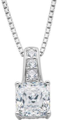 JCPenney FINE JEWELRY DiamonArt Cubic Zirconia Sterling Silver Square Pendant Necklace