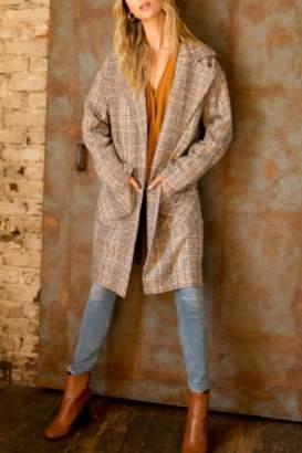 Hem & Thread Over-Sized Plaid Duster-Coat