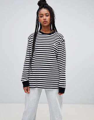 Obey relaxed long sleeve t-shirt in breton stripe