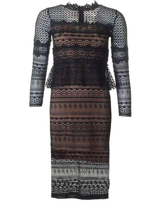 French Connection Petra Lace Long Sleeved Dress Colour: BLACK, Size: 1