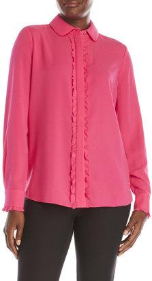 pink tartan Ruffle Trim Blouse $295 thestylecure.com