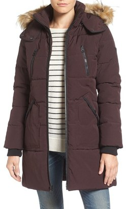 GUESS 'Expedition' Quilted Parka with Faux Fur Trim $228 thestylecure.com