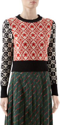 Gucci Two-Tone Long-Sleeve Crop Sweater