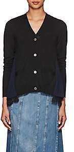 Sacai Women's Lace-Trimmed Wool Cardigan-Black, Navy