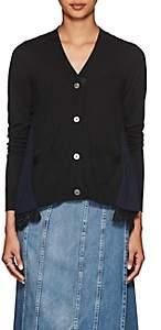 Sacai Women's Lace-Trimmed Wool Cardigan - Black, Navy